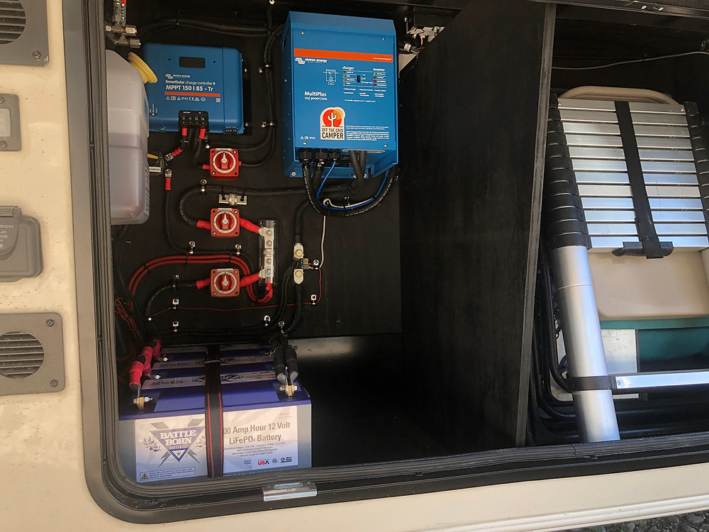 Battleborn Lithium Batteries and Victron Inverter in a Vanleigh Beacon