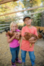 Boy and Girl holding chickens