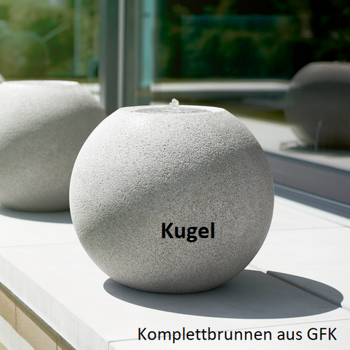Komplett-Brunnen Kugel granitgrau