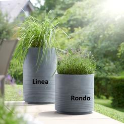 Pflanztöpfe Linea und Rondo bleigrau