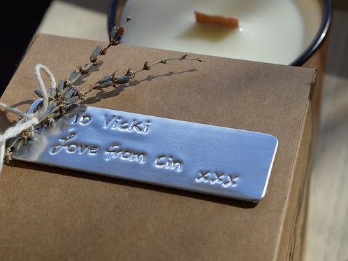 Custom embossed gift tag