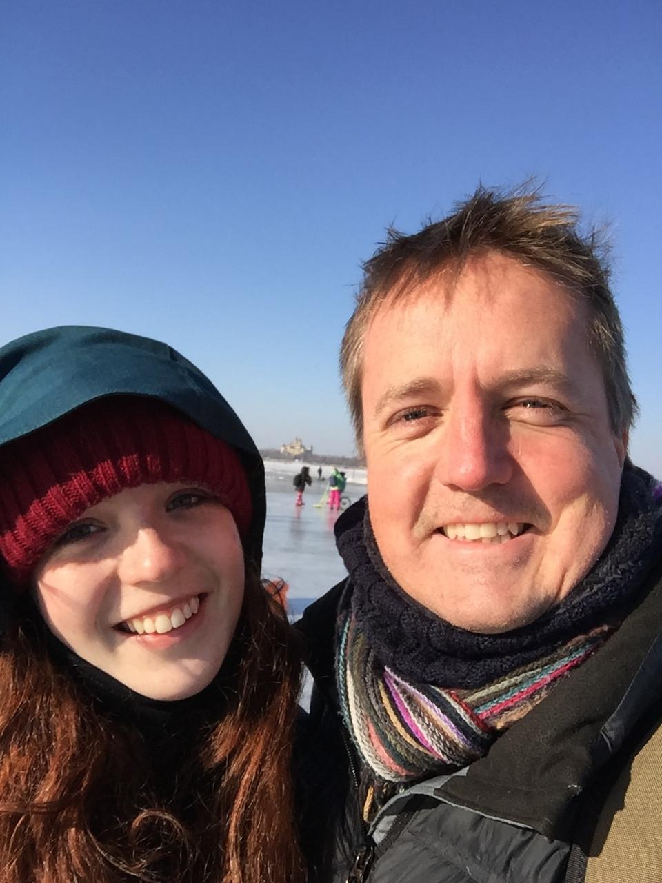 Ella Clarke conducing field work with Jeremy Clarke in Harbin