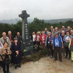 Pilgrims at a martyr's shrine
