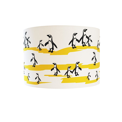 Black, white and yellow animal lampshade:'Penguin (ceiling) Lampshade' by Hannah Issi -Nursery ideas/theme/kids bedroom ideas