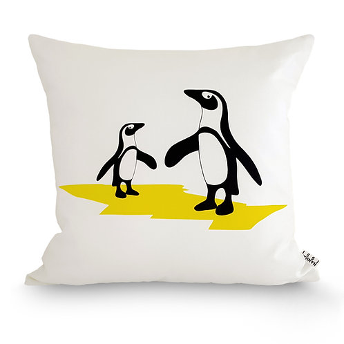 Black, white and yellow animal cushion: 'Penguin Cushion' by Hannah Issi - Children's bedroom/Animal theme room/nursery decor