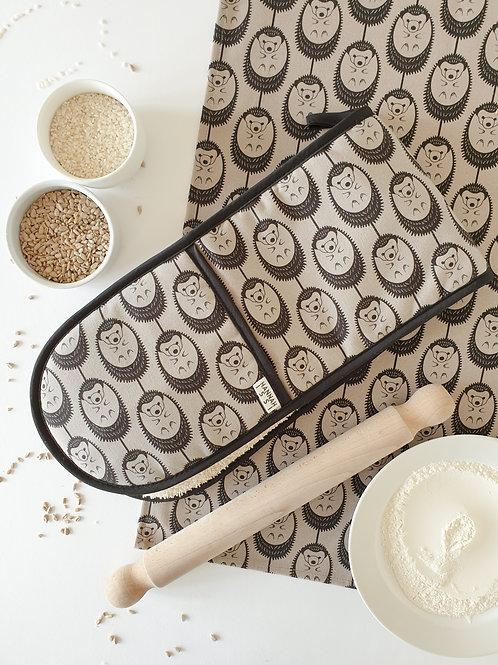 Hannah Issi Grey Hedgehog Oven Gloves and Tea Towel