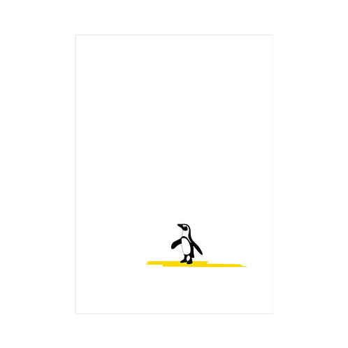Black, white and yellow A4 animal print: 'Penguin Print' by Hannah Issi - Nursery print/theme/kids bedroom ideas/Baby gift