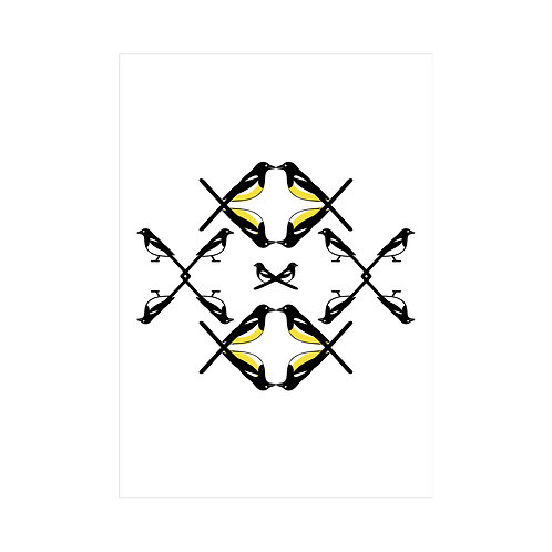Black, white and yellow A4 animal bird print: 'Magpie Family Print' by Hannah Issi - Modern wall art
