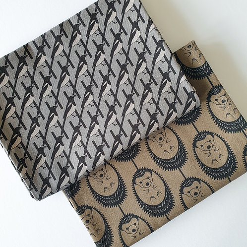 GREY MAGPIE & OLIVE GREEN HEDGEHOG TEA TOWEL DUO SET