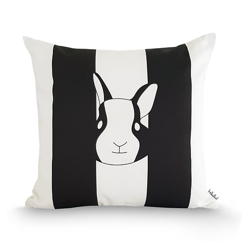 Black and white animal cushion: 'Rabbit Cushion' by Hannah Issi - Nursery/kids bedroom ideas/Modern home decor