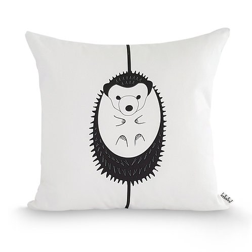 Black and white animal cushion: 'Hedgehog Cushion' by Hannah Issi - Nursery/kids bedroom/New baby gift