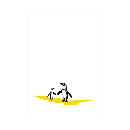 Black, white and yellow A4 animal print: 'Penguins Print' by Hannah Issi - Nursery print/kids bedroom/Modern wall art