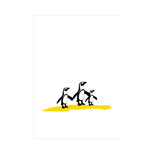 Black, white and yellow A4 animal print: 'Penguin Family Print' by Hannah Issi -Gender Neutral Nursery Print/ kids bedroom