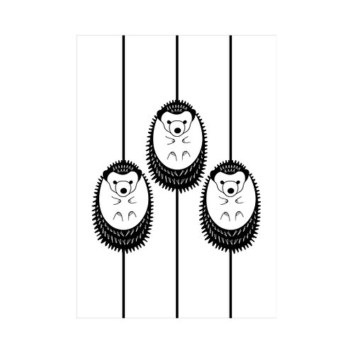 Black and white A4 animal print: 'Hedgehogs Print' by Hannah Issi - Nursery print/ideas/kids bedroom/baby gift