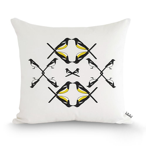 Black, white and yellow animal bird cushion: 'Magpie Family Cushion' by Hannah Issi - Modern home decor