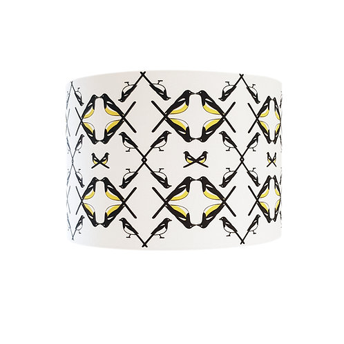 Black, white and yellow animal bird lampshade: 'Magpie Family (ceiling) Lampshade' by Hannah Issi - Modern home decor