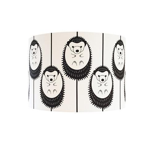 Black and white animal lampshade: 'Hedgehog (ceiling) Lampshade' by Hannah Issi - Nursery theme/nursery ideas/kids bedroom