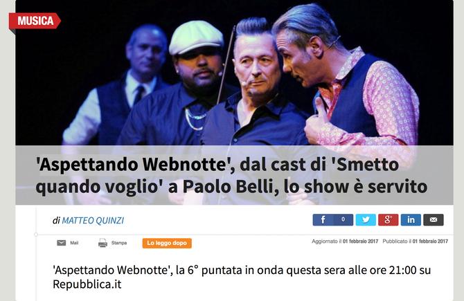 """""""Aspettando Webnotte"""" Questa sera Basilio ospite della trasmissione insieme a Paolo Belli,"""
