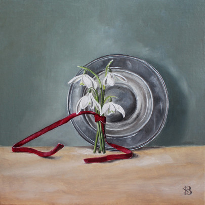 Snowdrops, Red Ribbon & Silver Plate