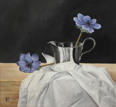Purple Anemones, Silver Jug & Linen Cloth
