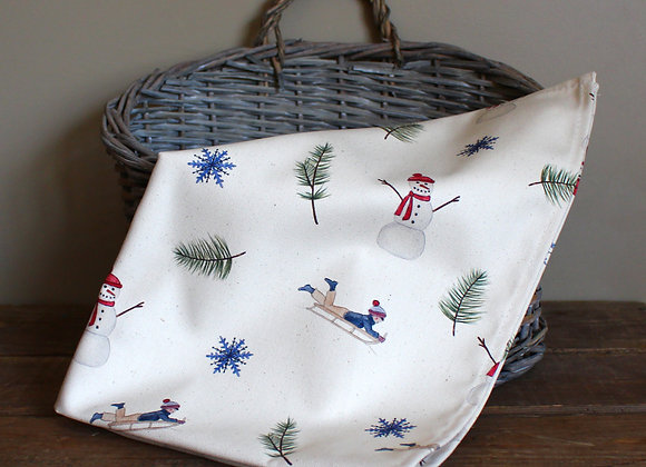 Christmas Sledging & Snowmen Tea Towel