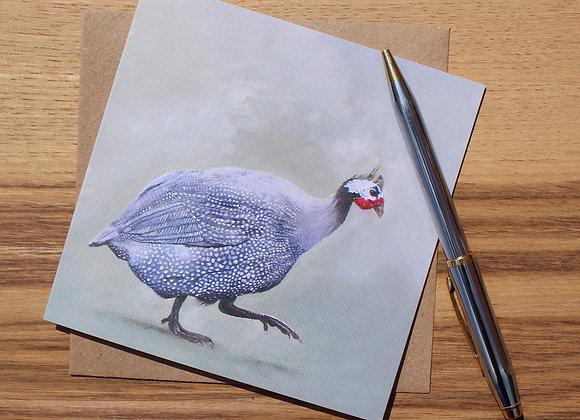 Lone Guinea Fowl Greetings Card