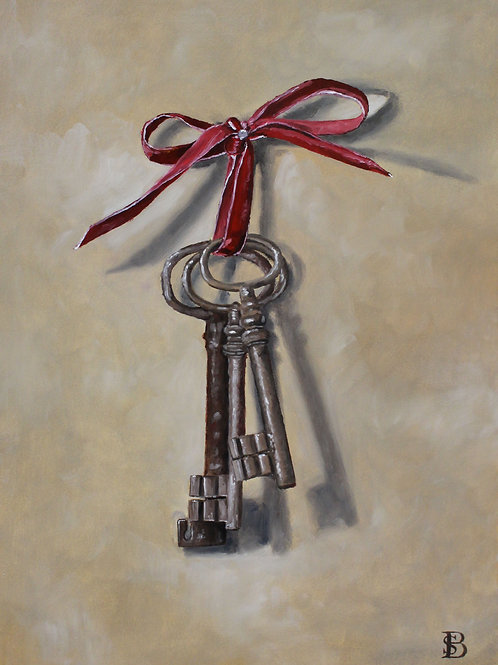 Antique Keys with Red Ribbon