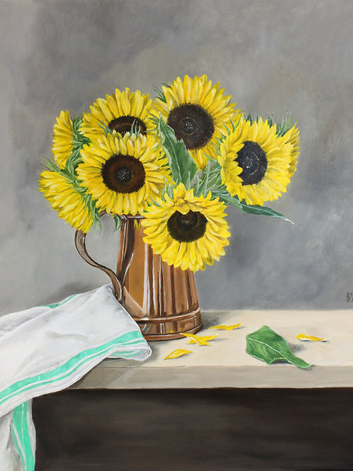 Sunflowers in a Copper Vase