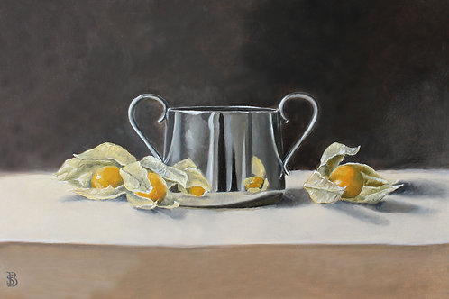 Silver Cup with Physalis Fruit