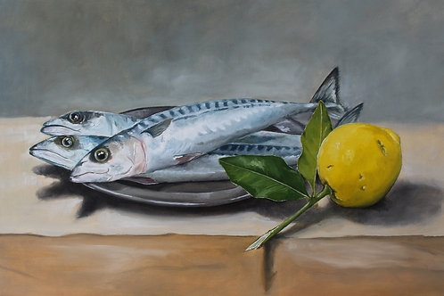 Mackerel on Pewter Plate with a Lemon