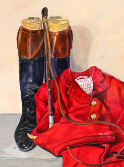 HUNTING BOOTS, RED COAT & WHIP