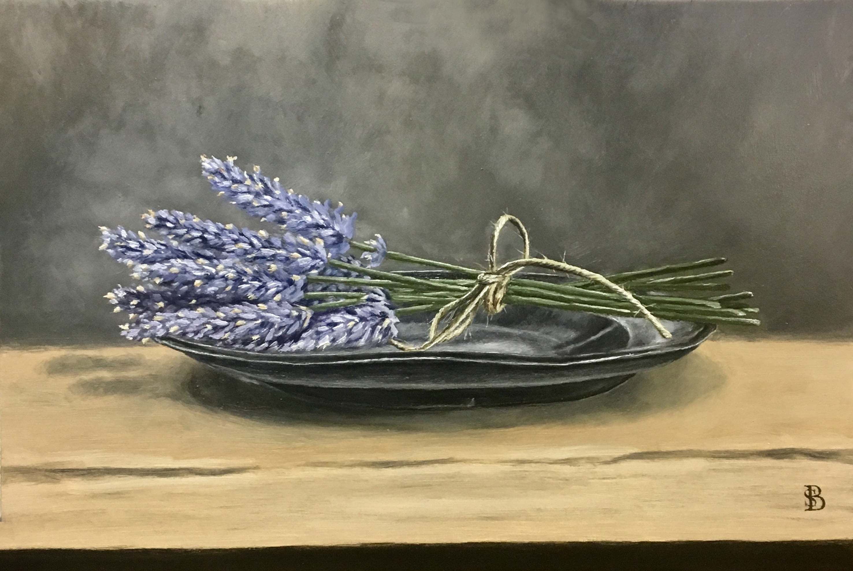 Lavender on Pewter Plate