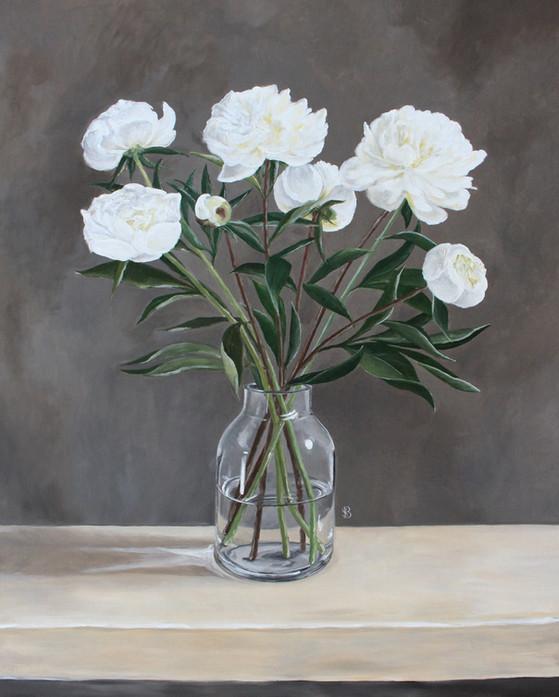 Vase of White Peonies