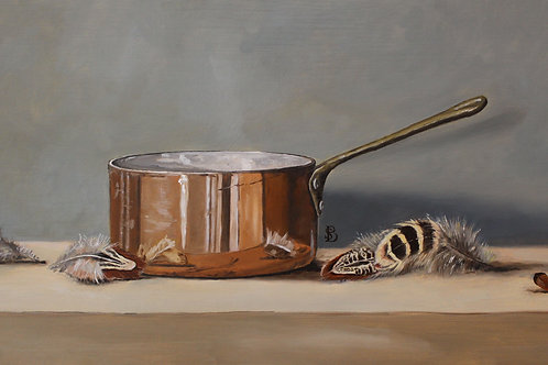 Copper Pan & Pheasant Feathers