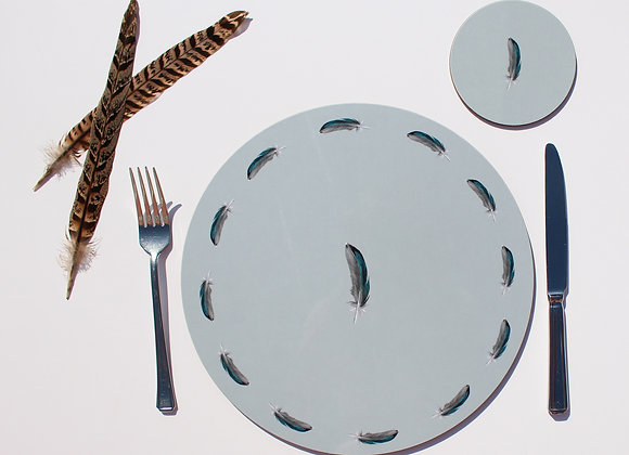 Teal Feather Placemats