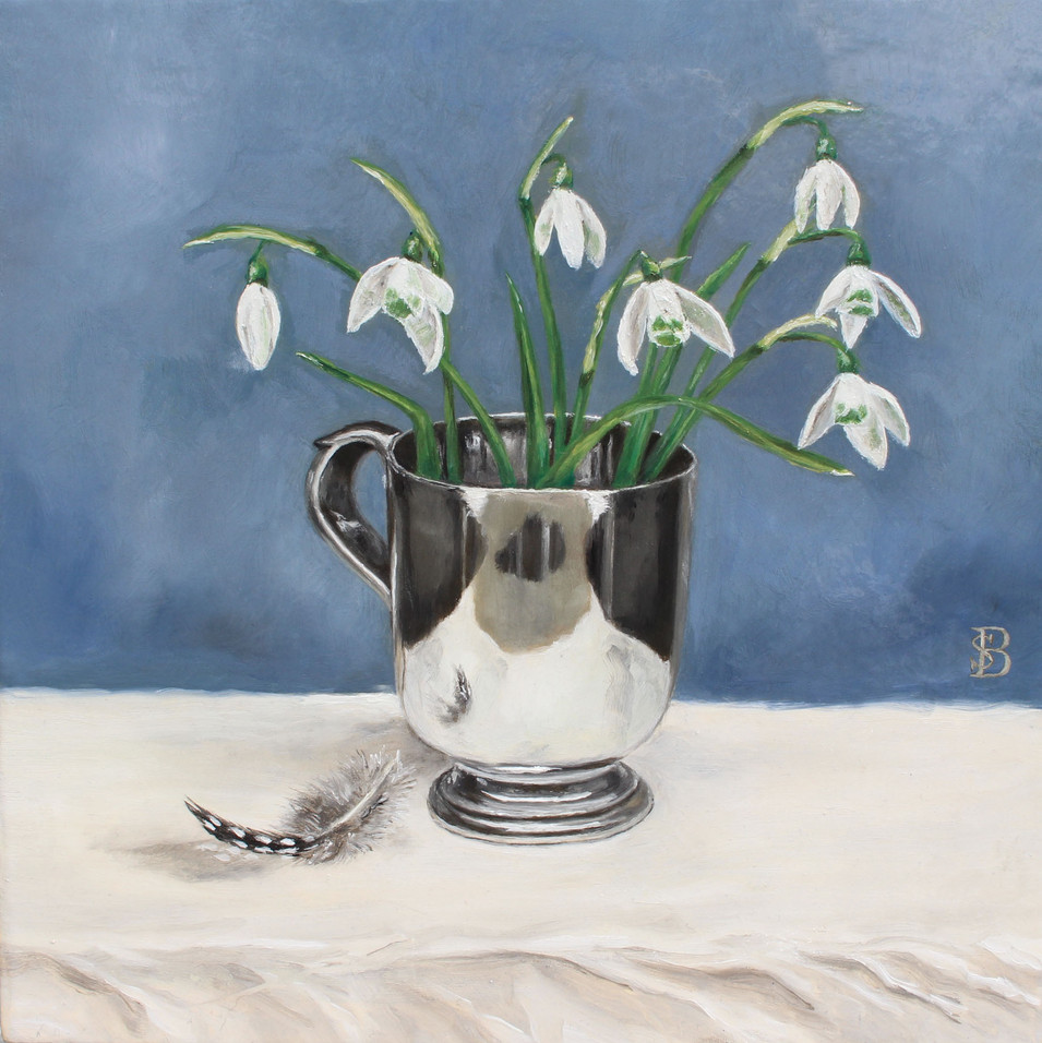 Snowdrops, Silver Cup & Guinea Fowl Feather