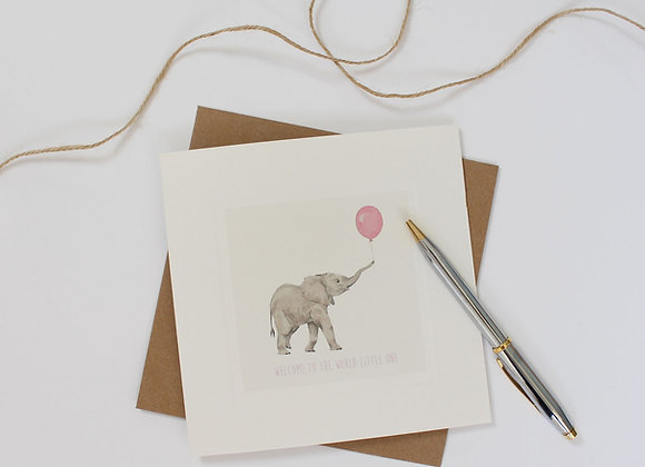 Pink Elephant Baby Card (Trade)