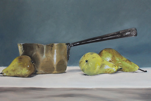 Copper Pan & Three Pears