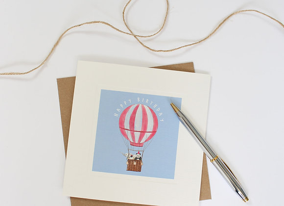 Red Hot Air Balloon Birthday Card (Trade)
