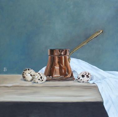 Copper Jug, Linen Cloth and Quails Eggs