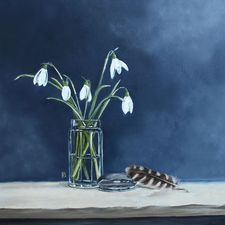 Snow Drops in Glass Jar with a Barn Owl Feather