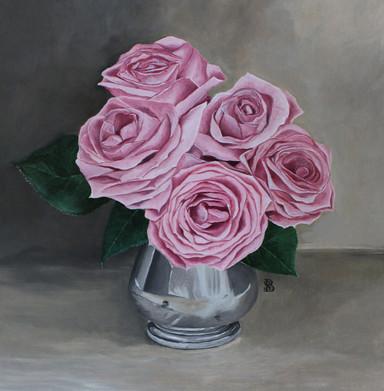 Pink Roses in Silver Jug