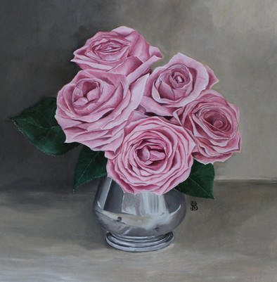 Pink Roses in Silver Jug