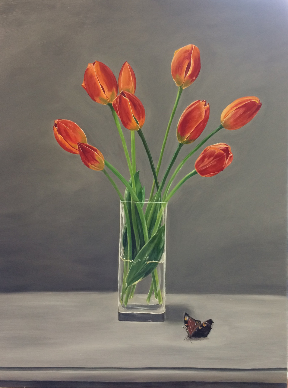 Vase of Tulips & Butterfly