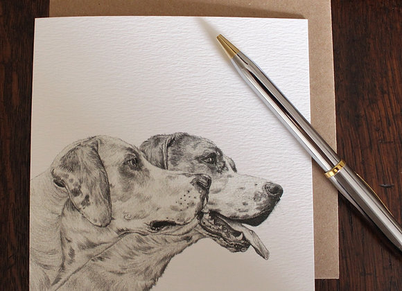 Hounds Drawing Greetings Card