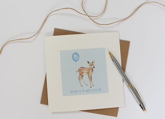 Blue Fawn Baby Card