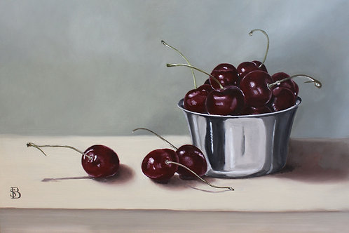 Cherries & Silver Bowl