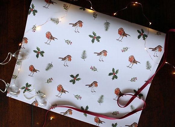 Robins & Holly Christmas Wrapping Paper