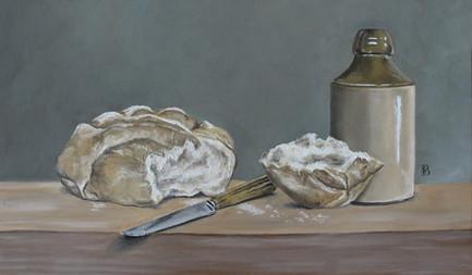 Bread, Knife & Earthenwear Pot