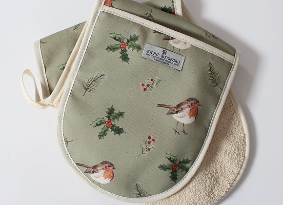 Christmas Robin Double Oven Gloves